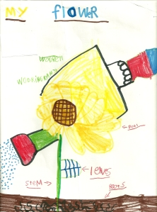 Bug's Drawing of a Flower and a Watering Can